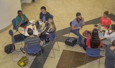Overhead shot of student groups